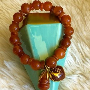 Jade Bead Bracelet Maroon